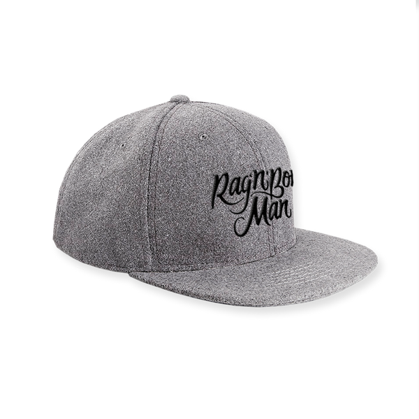 EMBROIDERED GREY WOOL SNAPBACK