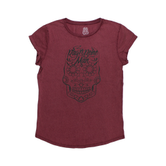 GLITTER SKULL BURGUNDY LADIES T-SHIRT