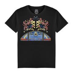 COLOURED SKULL PHONE BLACK T-SHIRT