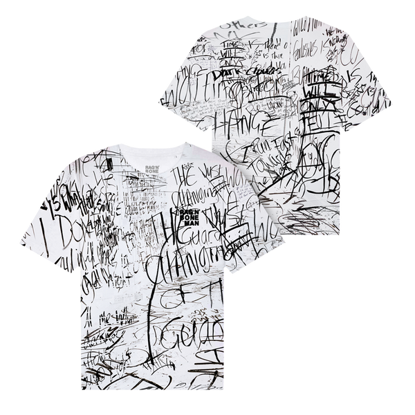ALL OVER LYRIC PRINT WHITE T-SHIRT