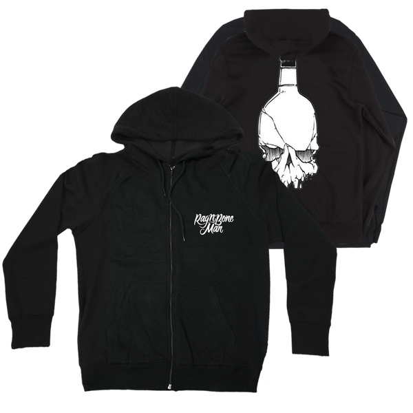 LOGO BOTTLE SKULL BLACK ZIP HOODIE