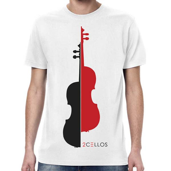 WHITE SPLIT CELLO T-SHIRT