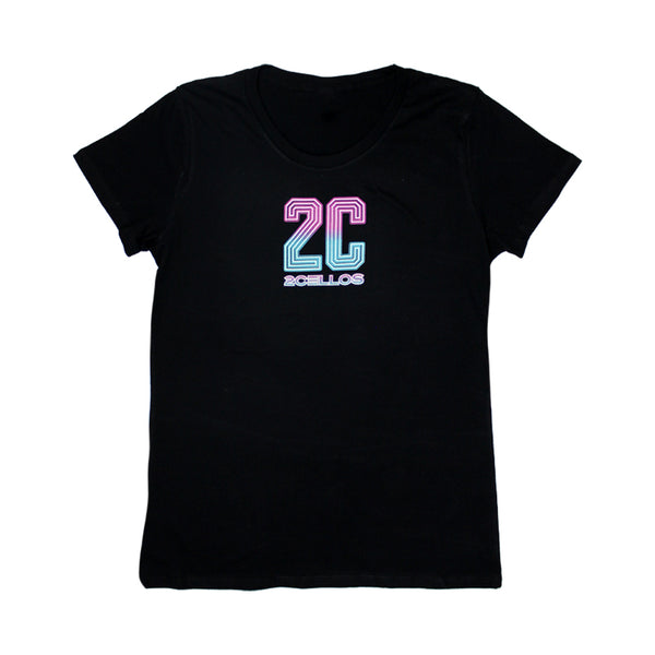 2CELLOS '2C NEON' BLACK WOMENS T-SHIRT