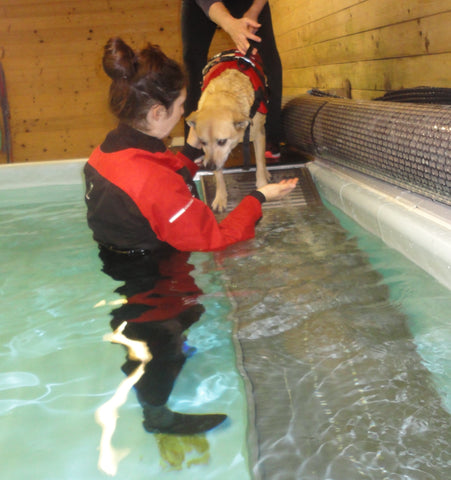 Betty gets hydrotherapy