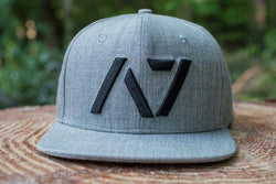 Heather grey snapback with black logo