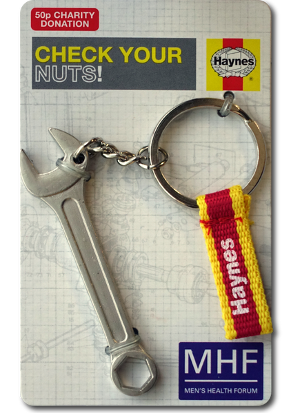 """Check your nuts"" Haynes wrench keyring"