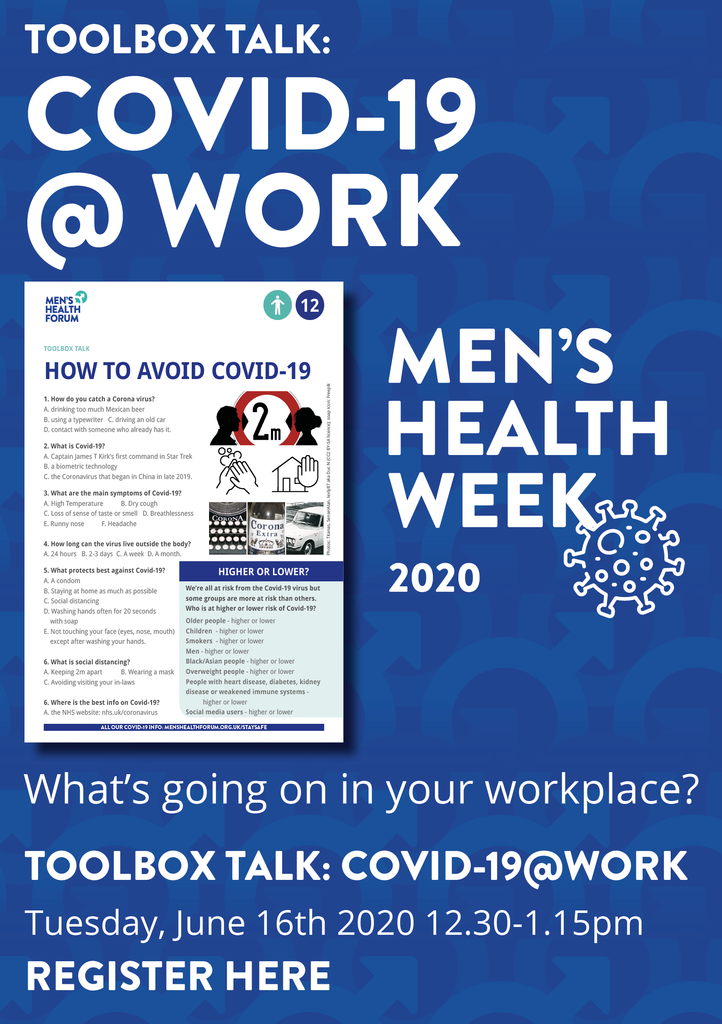 Webinar - Toolbox Talk online: work & COVID-19: Tuesday, June 16th, 2020 - 12.30-1.15pm