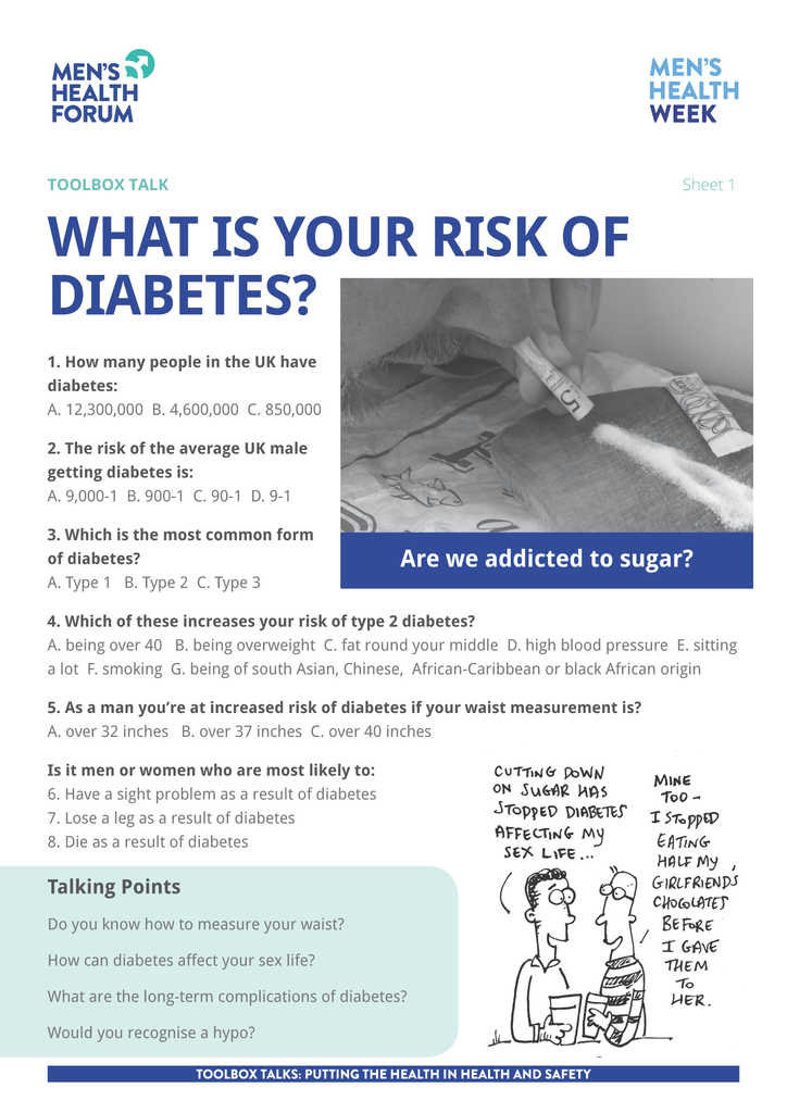 Toolbox Talk - What is your risk of diabetes? - #TalkAboutDiabetes (PDF)