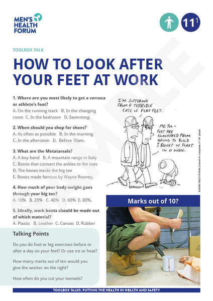Toolbox Talk 11: How to look after your feet at work (PDF)
