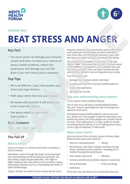 Toolbox Talk 6: Beat Stress & Anger (PDF + 3 days trial video)