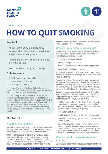 Toolbox Talk 1: How to quit smoking (PDF)