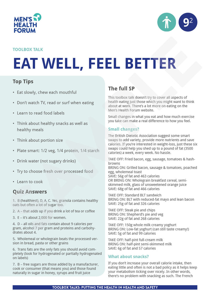 Toolbox Talk 9: Eat well, feel better (PDF) – Men's Health Forum