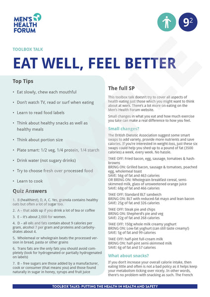 Toolbox Talk 9: Eat well, feel better