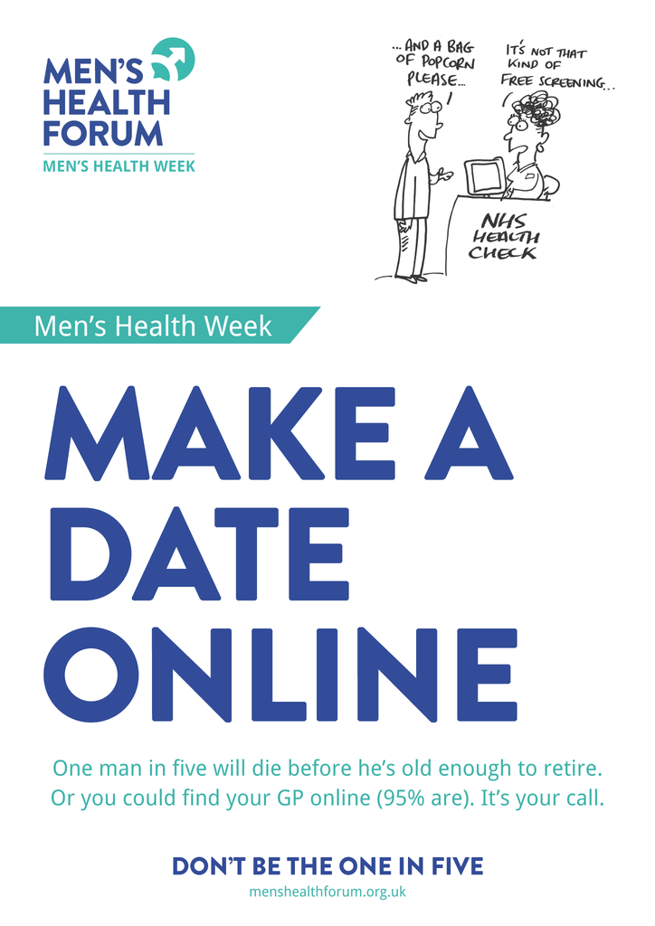 Don't be the one in five - Make a date (See Your GP / NHS Health Check) Posters - Men's Health Week 2015 (pdf)