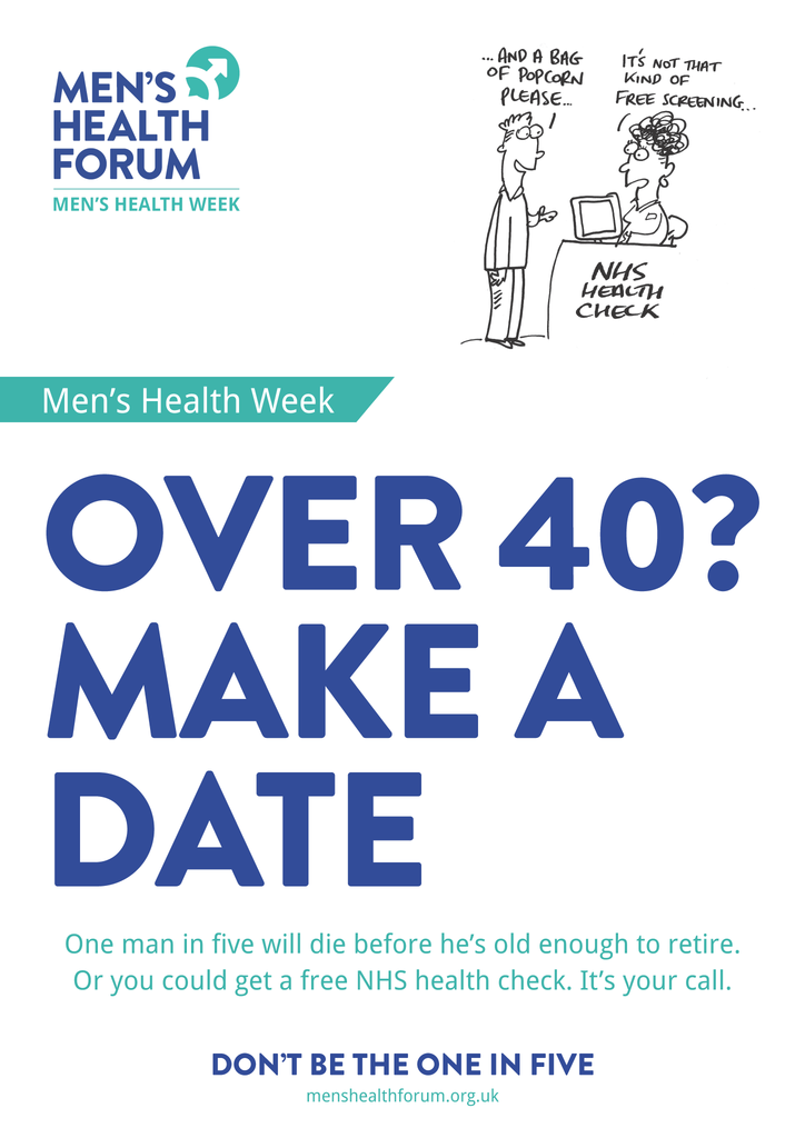 Don't be the one in five - Over 40 (NHS Health Check) Posters - Men's Health Week 2015 (pdf)