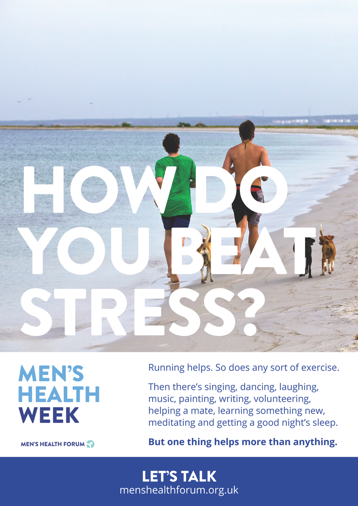 How do you beat stress? Let's talk. - Beach Poster - Men's Health Week 2016 (pdf)