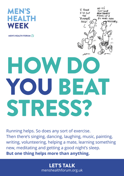 How do you beat stress? Let's talk. - Running (Cartoon) Poster - Men's Health Week 2016 (pdf)