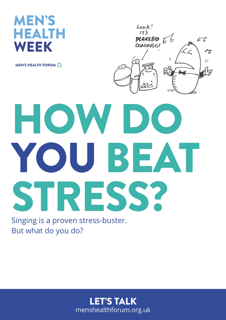 How do you beat stress? Let's talk. - Singing (Cartoon) Poster - Men's Health Week 2016 (pdf)