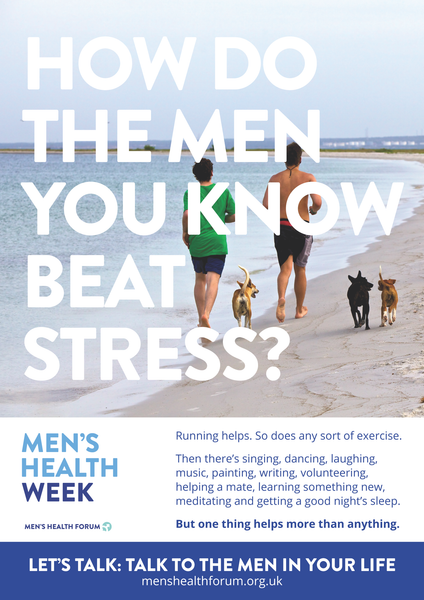 How do the men you know beat stress? Let's talk. - Partners (Colour) Poster - Men's Health Week 2016 (pdf)