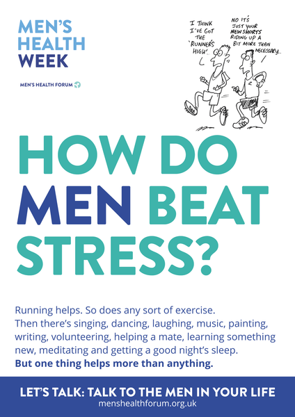 How do men beat stress? Let's talk. - Partners (Cartoon) Poster - Men's Health Week 2016 (pdf)