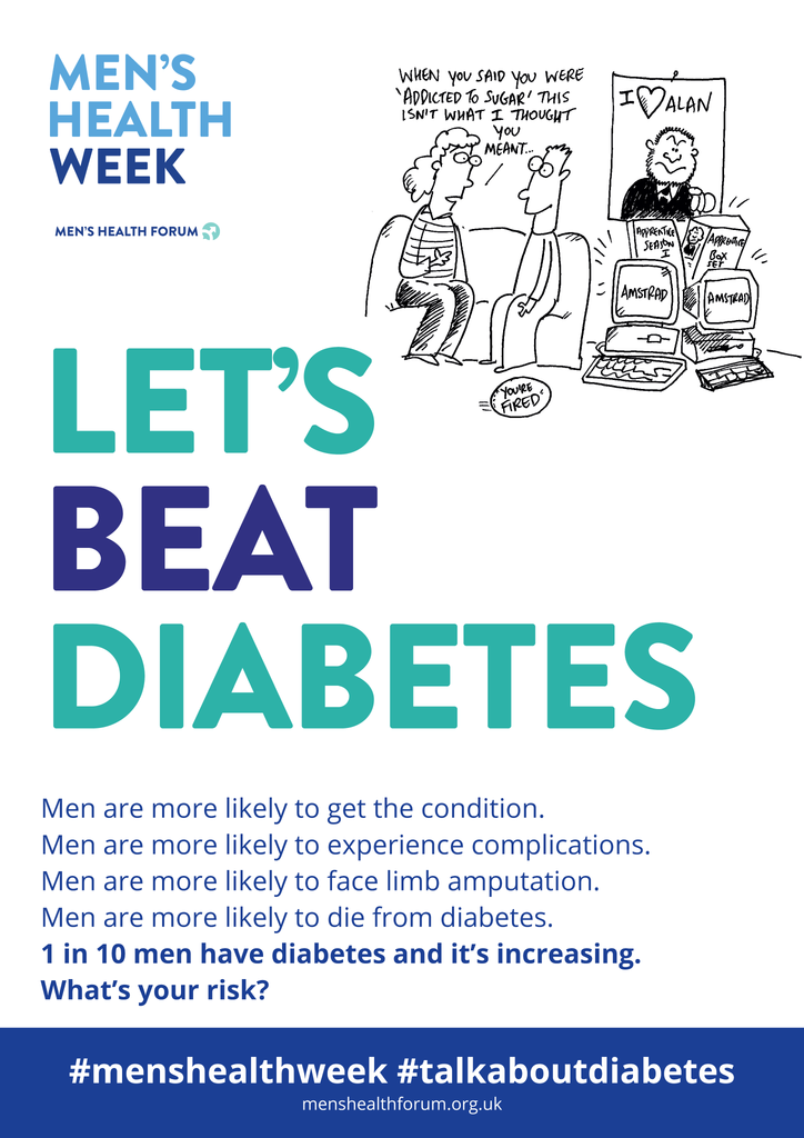 #TalkAboutDiabetes - Let's Beat Diabetes Poster - Men's Health Week 2018 (pdf)