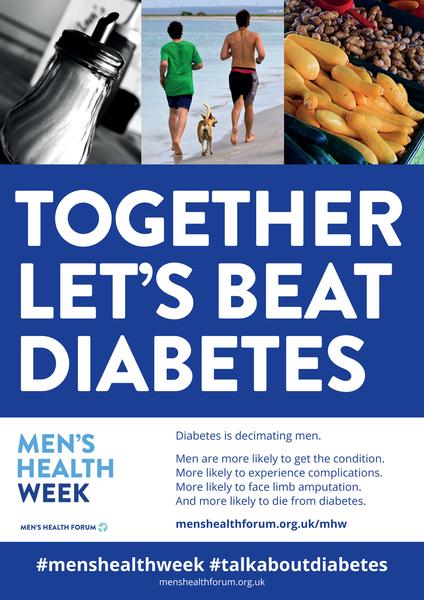 #TalkAboutDiabetes - Together Let's Beat Diabetes Poster - Men's Health Week 2018 (pdf)