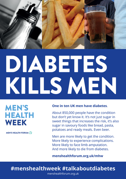 #TalkAboutDiabetes - Diabetes Kills Men Poster - Men's Health Week 2018 (pdf)