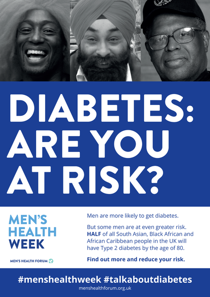 #TalkAboutDiabetes - Diabetes: Are You At Risk? Poster - Men's Health Week 2018 (pdf)