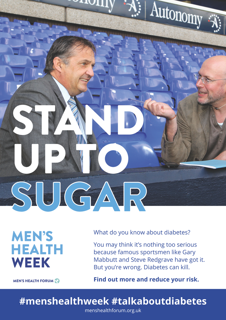 #TalkAboutDiabetes - Gary Mabbutt Stand Up to Sugar Poster - Men's Health Week 2018 (pdf)