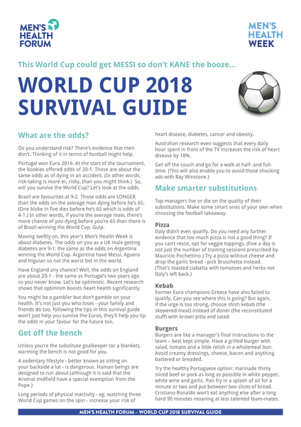 World Cup Survival Guide 2018 - A4 handout (pdf)