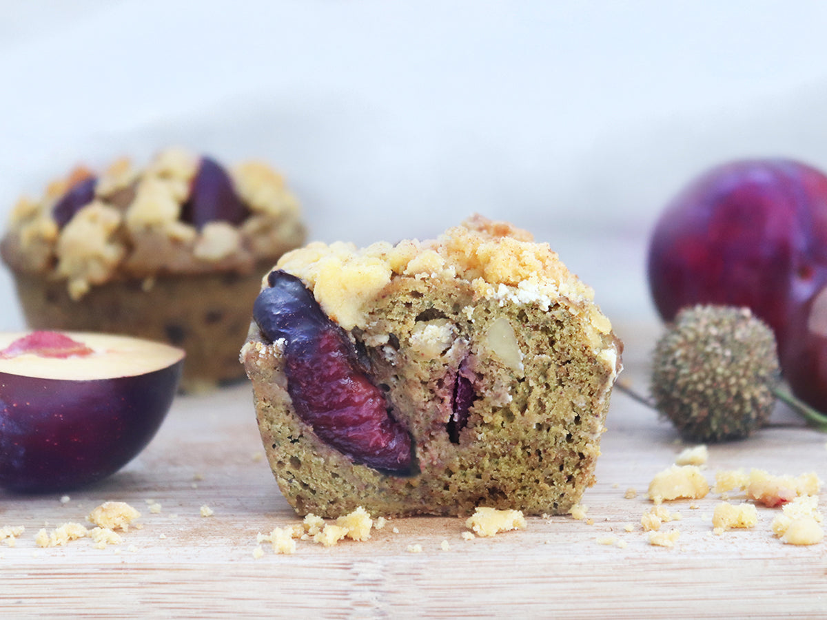 Sweet Kitcen Pflaume Streusel Low Carb Muffin