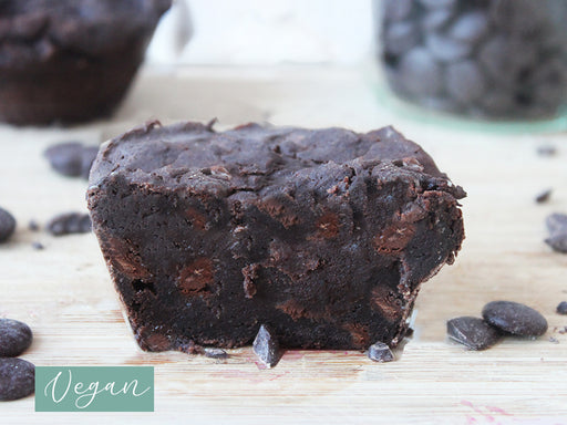 Vegan Double Chocolate Muffin mit Schokodrops, low carb, zuckerfrei