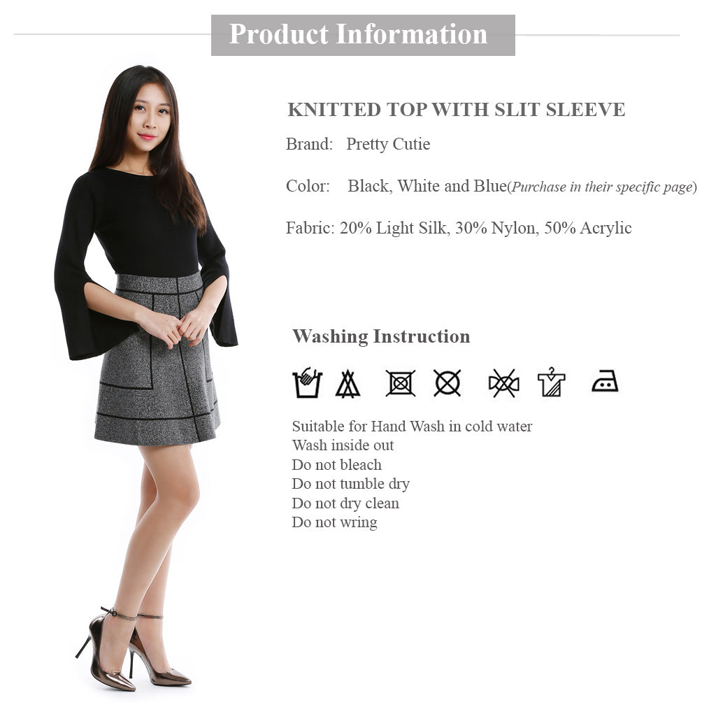 Round Neck Knitted Top with Slit Sleeve in Black clothing information and wash instruction