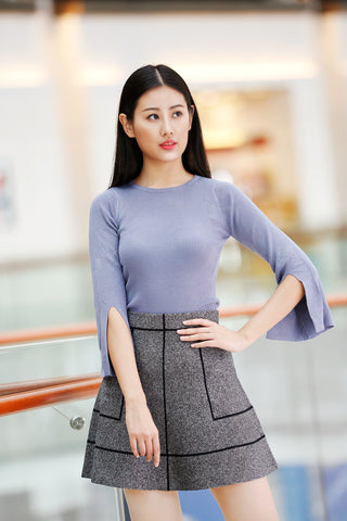 Click to visit blue color knitted top product page