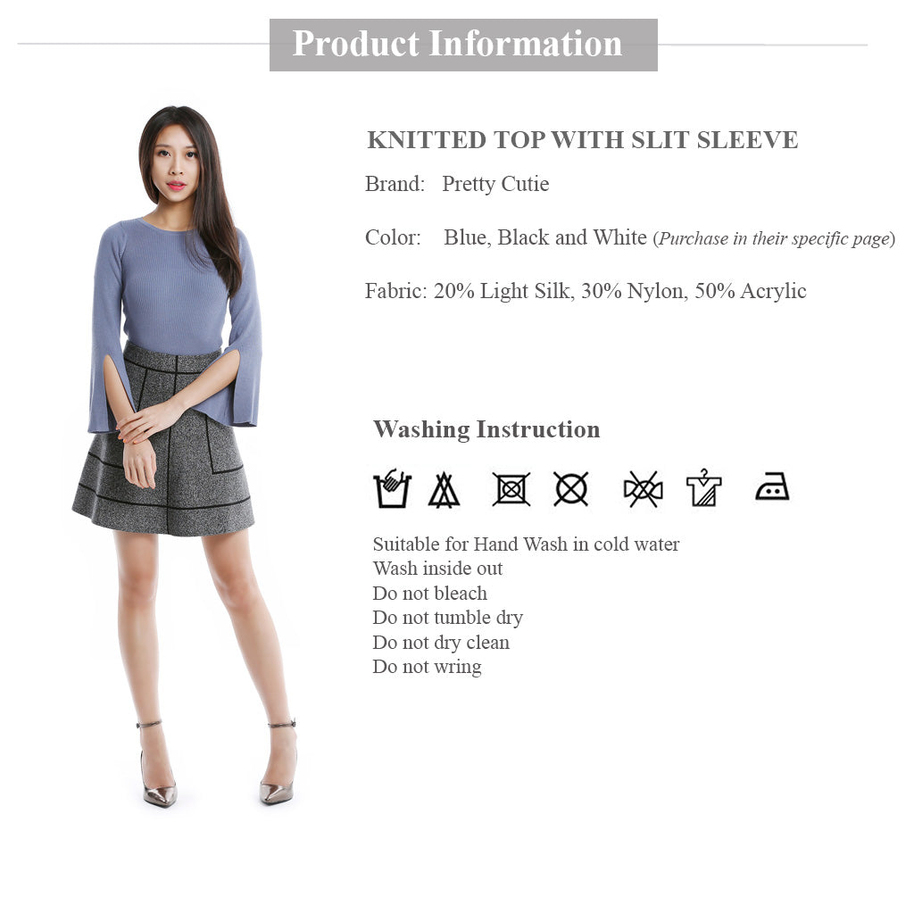 blue round neck knitted top with slit sleeve clothing information and wash instruction