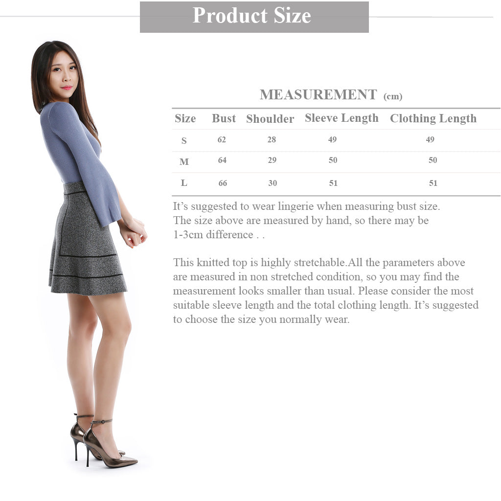 Blue Round Neck Knitted top with slit sleeve size guide information