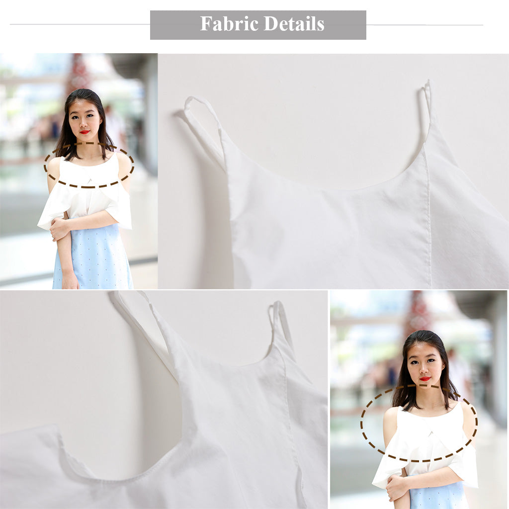 pretty cutie elegant off shoulder halter deck dress with dotted baby blue bottom fabric details 1