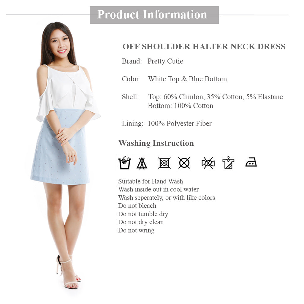 Off Shoulder Halter Neck Dress with Dotted baby blue bottom product description brand name and wash instruction