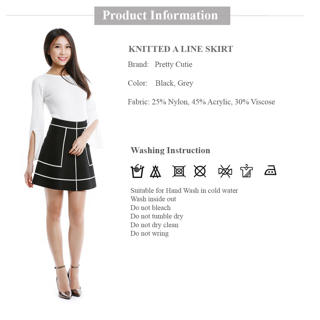 Knitted A Line Skirt Clothing information and wash instruction