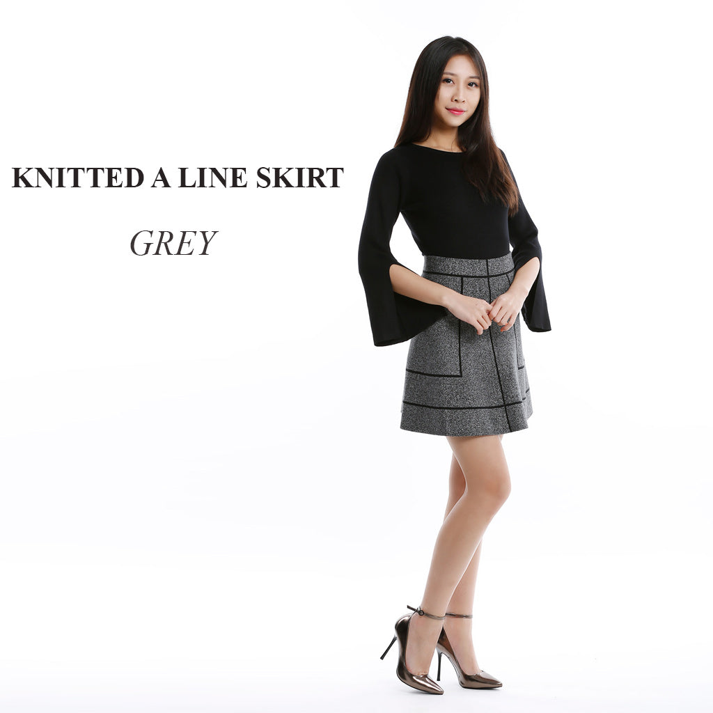 Knitted A Line skirt in Grey main poster