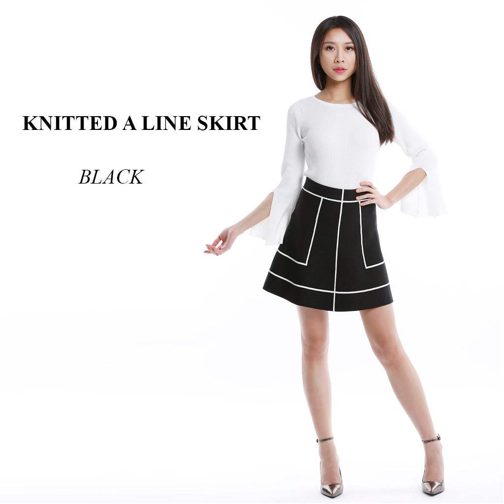 Knitted A Line Skirt in Black main poster