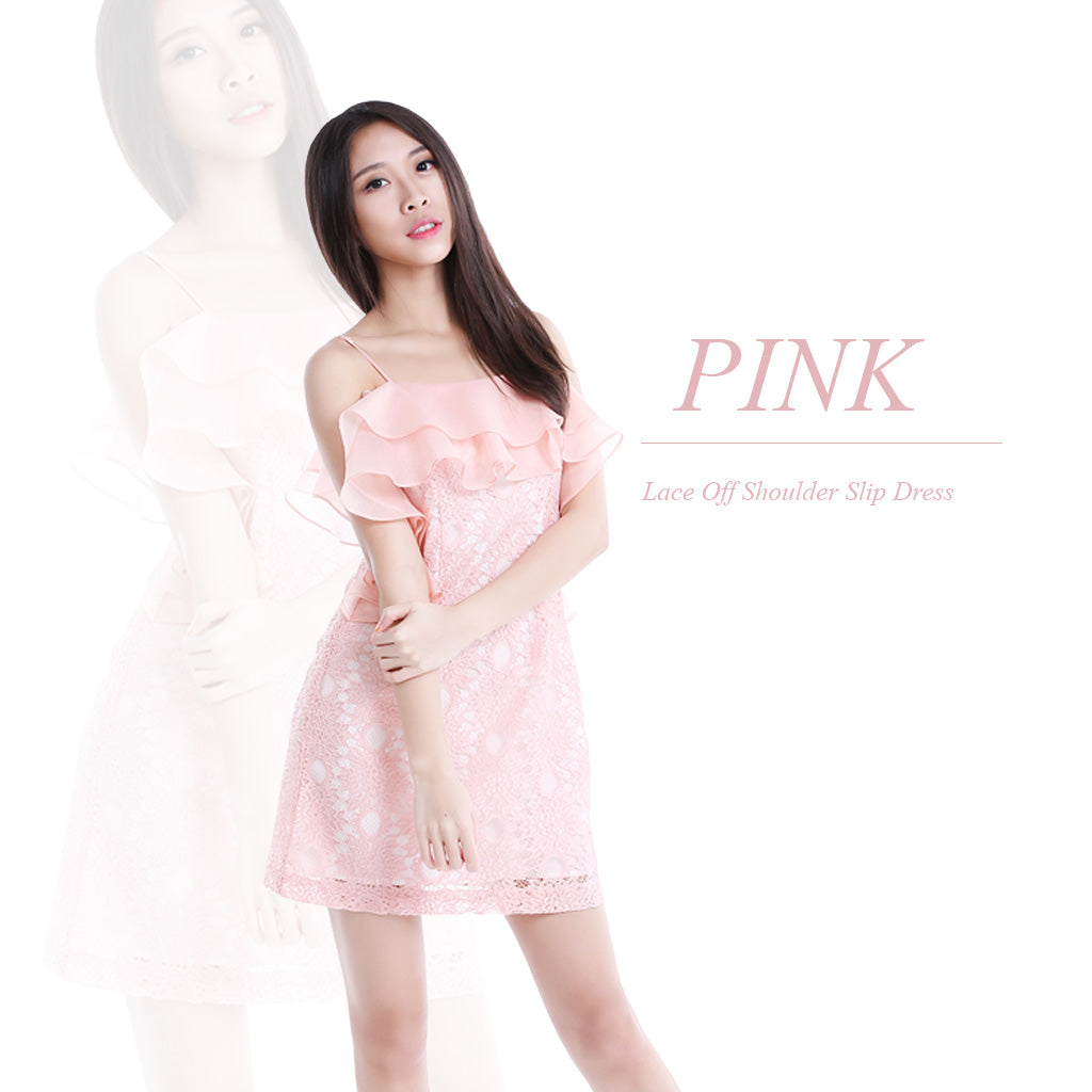 SLIP DRESS WITH DOUBLE FLOUNCE LAYER pink poster