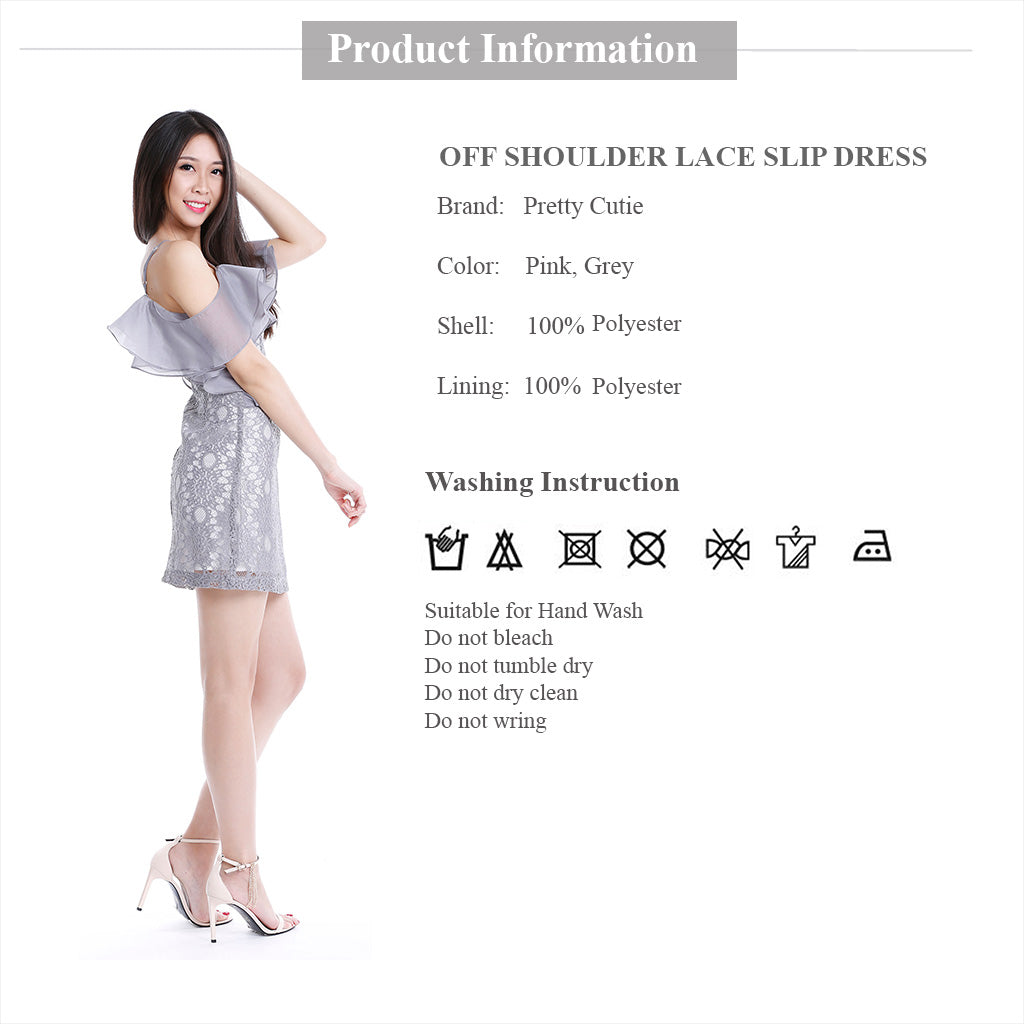 Lace Off Shoulder Slip Dress with double flounce layer product information