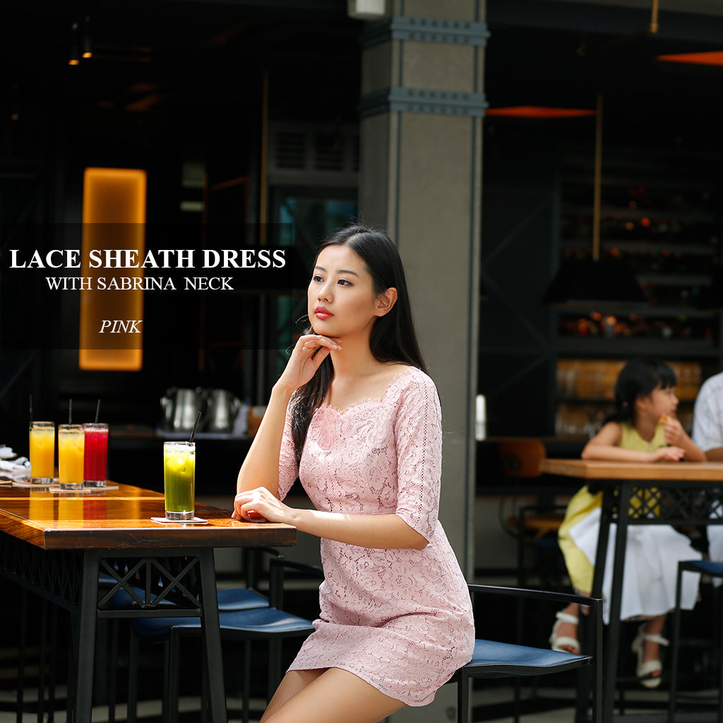 pretty cutie lace sheath dress with scalloped Sabrina neck
