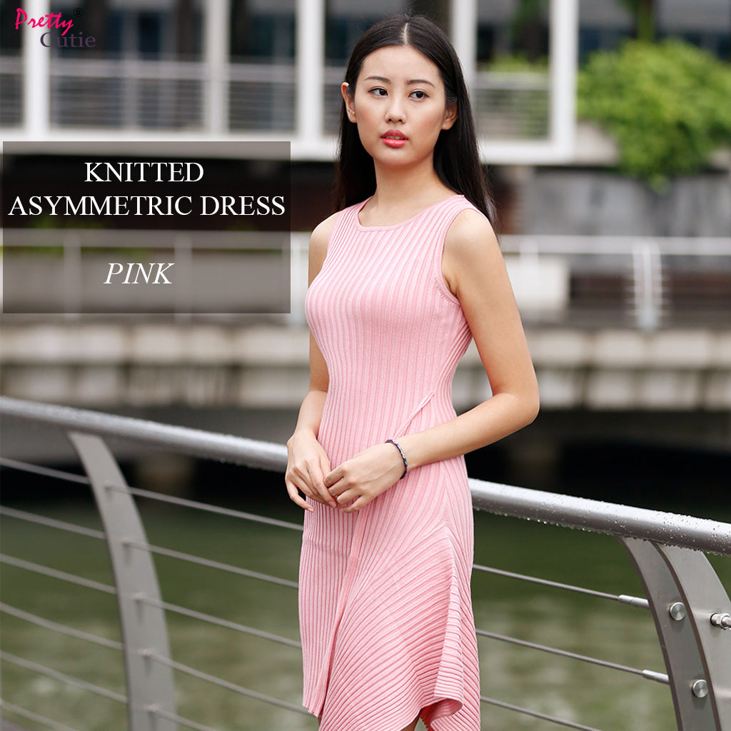 Sleeveless Knitted Asymmetric Dress in Pink Poster