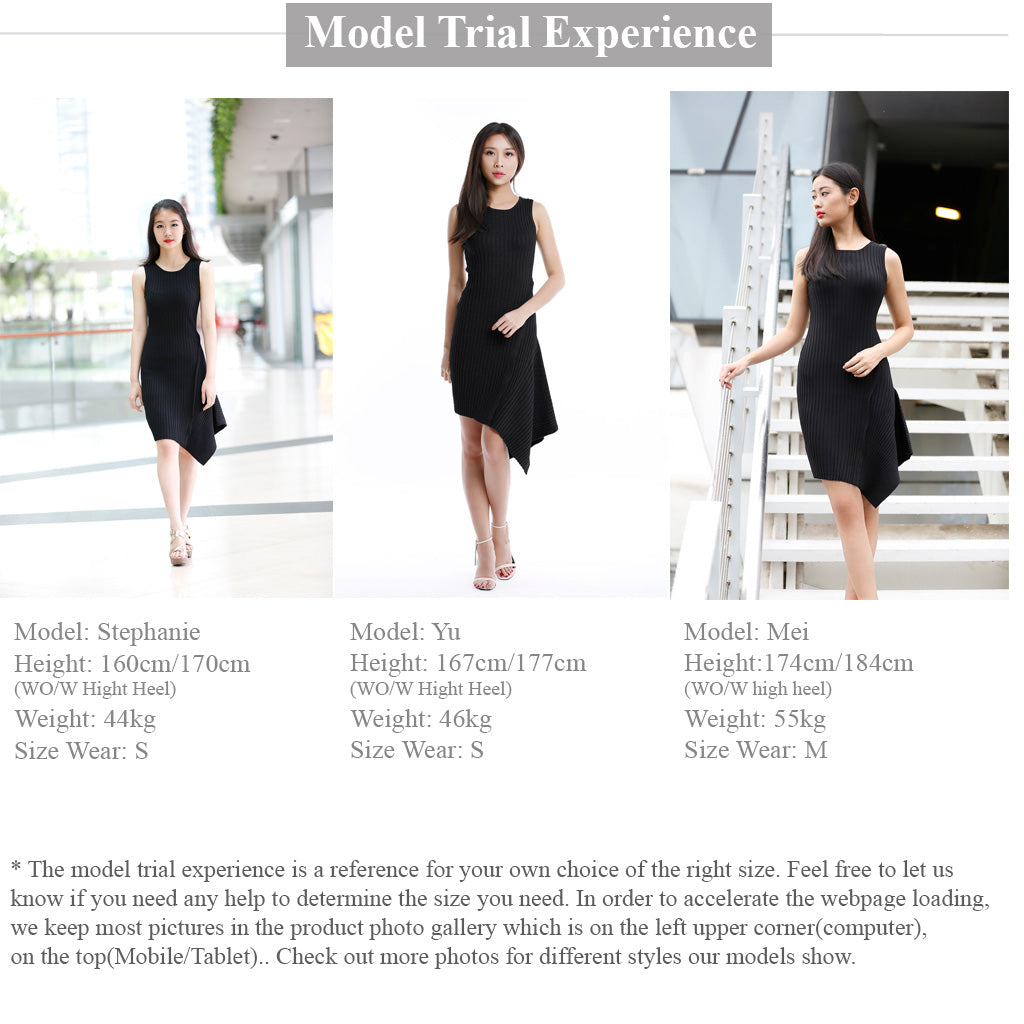 Sleeveless Knitted asymmetric dress in black model trial experience