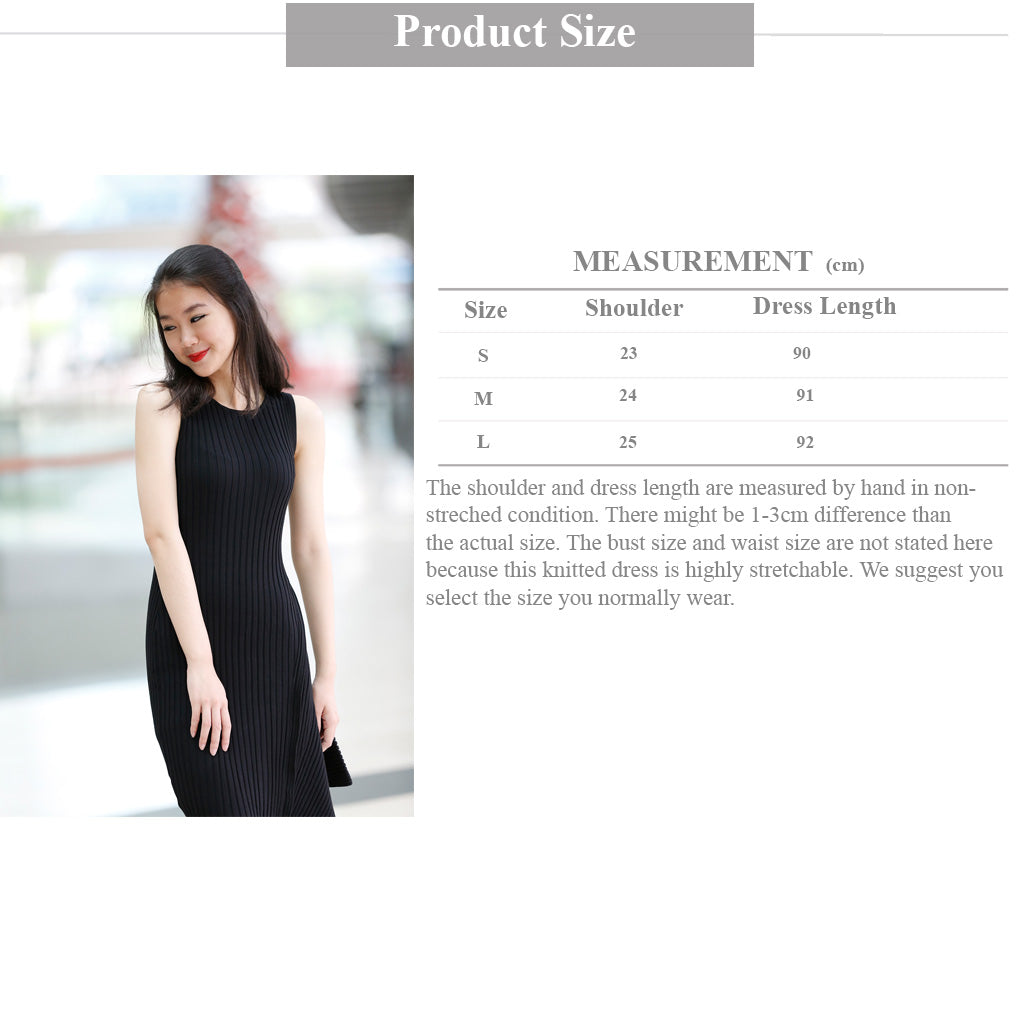 sleeveless knitted asymmetric dress in black size guide