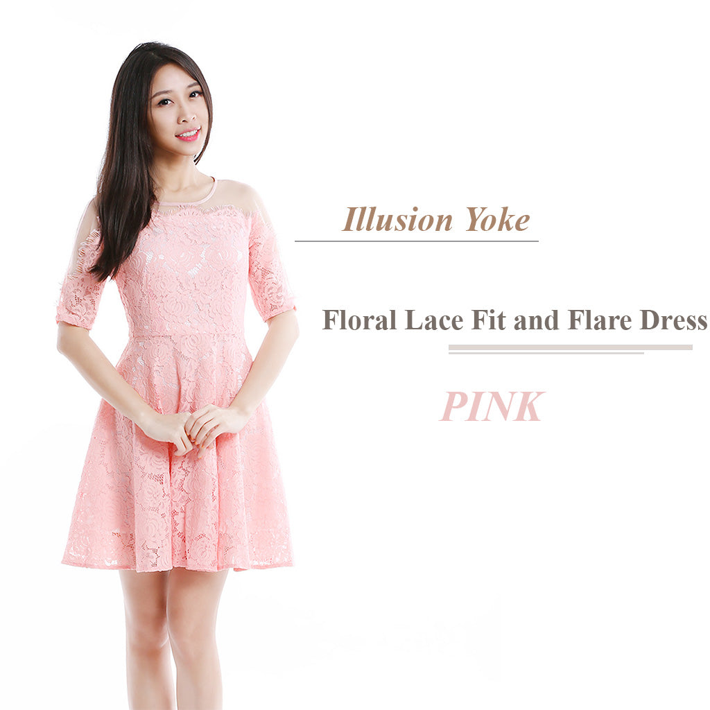 Illusion Yoke Floral Lace Fit and Flare Dress in Pink main poster