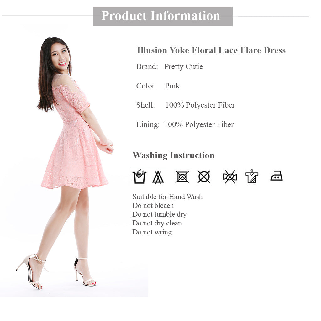 illusion yoke floral lace fit and flare dress in pink product information and wash instruction