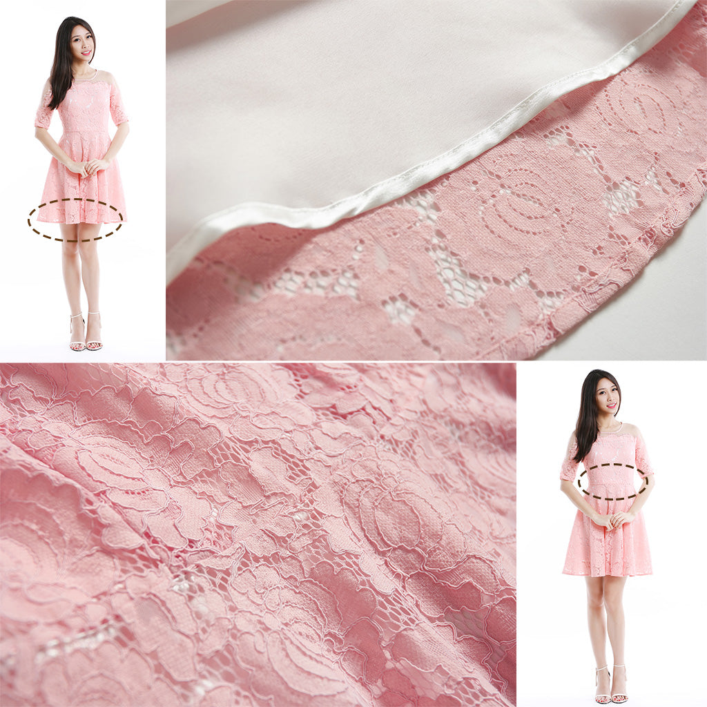 Illusion yoke floral lace fit and flare dress in pink fabric details 2